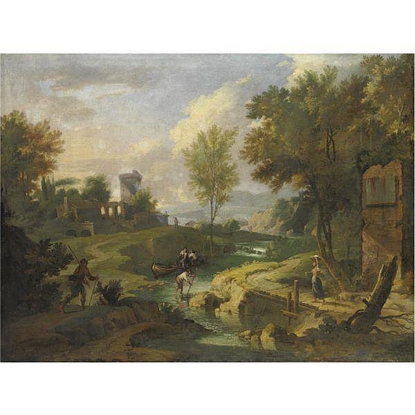Tommaso Porta , Brescia 1689-1768 Verona Paesaggio fluviale con figure olio su tela