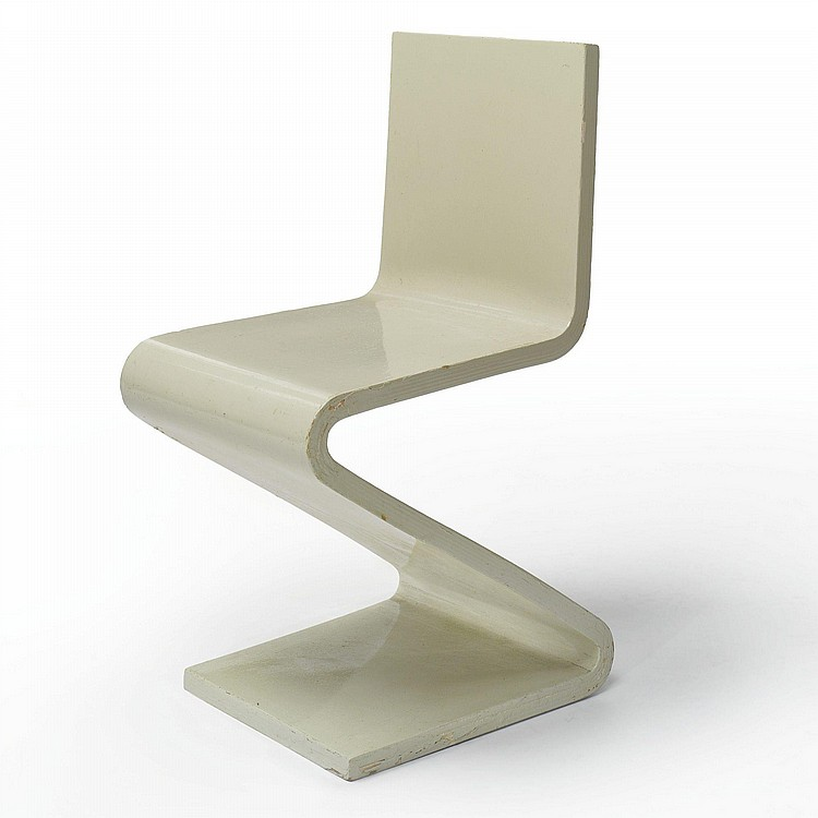 Gerrit rietveld artwork for sale at online auction for Chaise zig zag