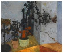 LEONARD ROSOMAN, O.B.E., R.A. | Still Life with Pot Plants and Bottle