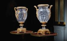 A LARGE PAIR OF LOUIS XVISTYLE GILT-BRONZE MOUNTED CUT-GLASS VASES |