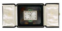 AN AGATE SILVER GILT AND ENAMEL BOUDOIR TIMEPIECE, CIRCA 1925   An agate silver gilt and enamel boudoir timepiece, circa 1925