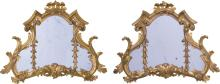 A PAIR OF CARVED GILTWOOD AND GESSO MIRRORS, 19TH CENTURY  