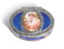 AN ENAMEL AND PARCEL-GILT SILVER SNUFF BOX, FRENCH, 20TH CENTURY | An enamel and parcel-gilt silver snuff box, French, 20th century