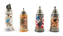 A GROUP OF FOUR BEER STEINS |
