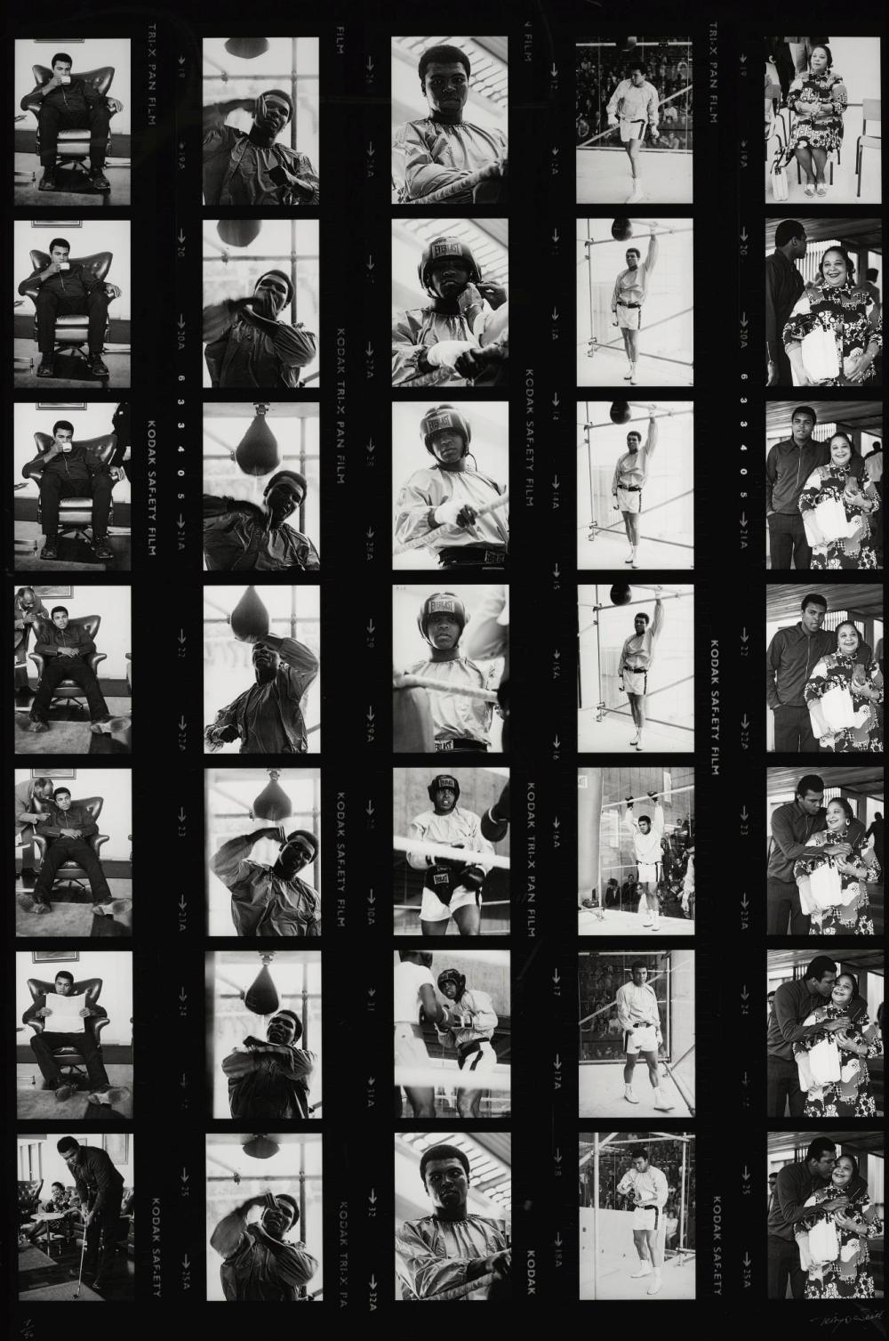 TERRY O'NEILL | Muhammad Ali Contact Sheet - Preparing for his Fight with Alvin Lewis, Dublin, 1972