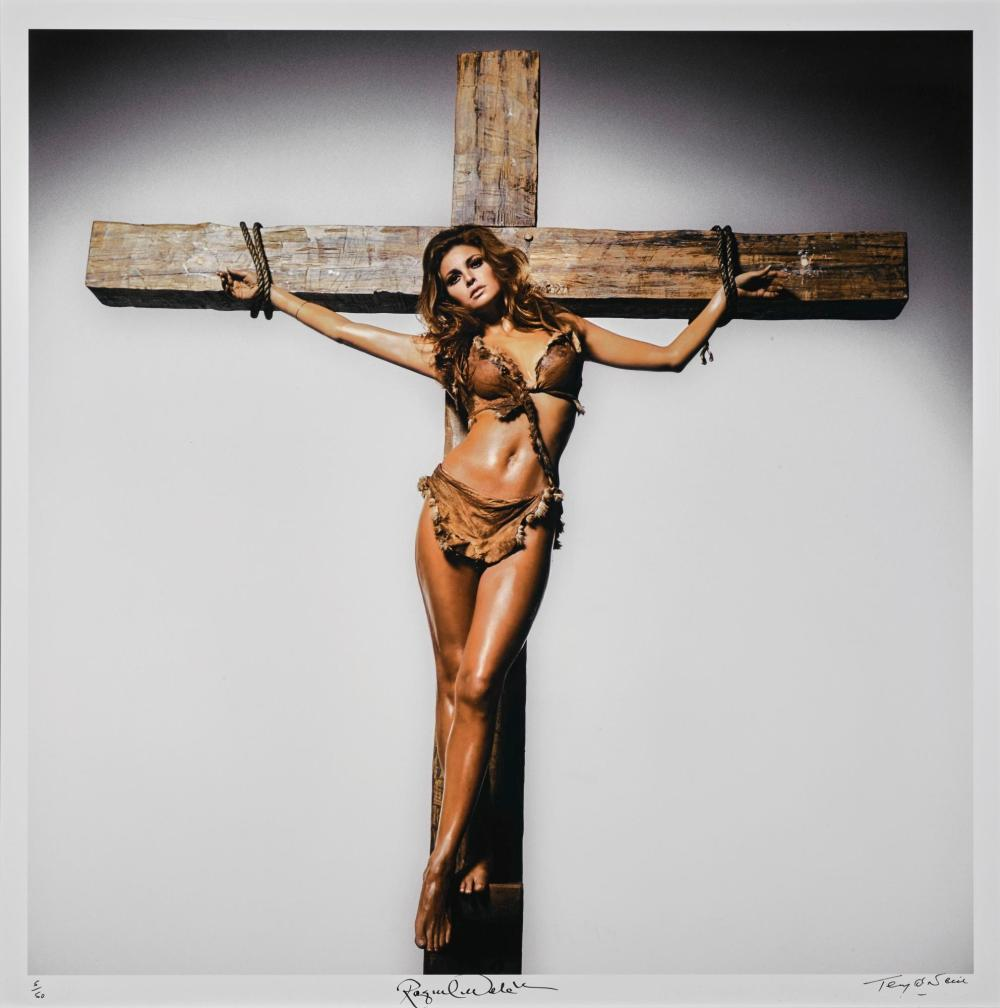 TERRY O'NEILL | Raquel Welch on the Cross, Los Angeles, 1966