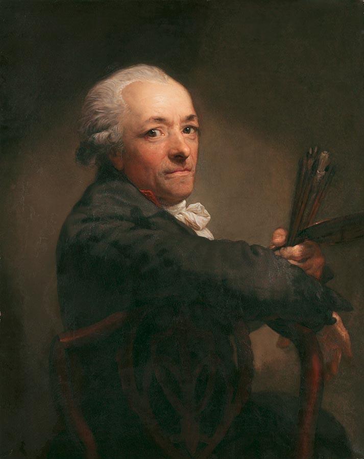ANTON GRAFF 1736-1813 SELBSTBILDNIS MIT PINSELN UND PALETTE