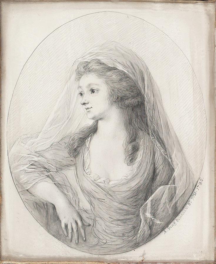 ANTON GRAFF 1736-1813 BILDNIS ELISABETH REINHART, 1786 BLEISTIFT, TUSCHE UND WEISS GEHÖHT AUF