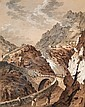c - FRANZ XAVER TRINER 1767-1824 PONT DU DIABLE SUR LE MONT ST. GOTHARD AQUARELL UND GOUACHE AUF
