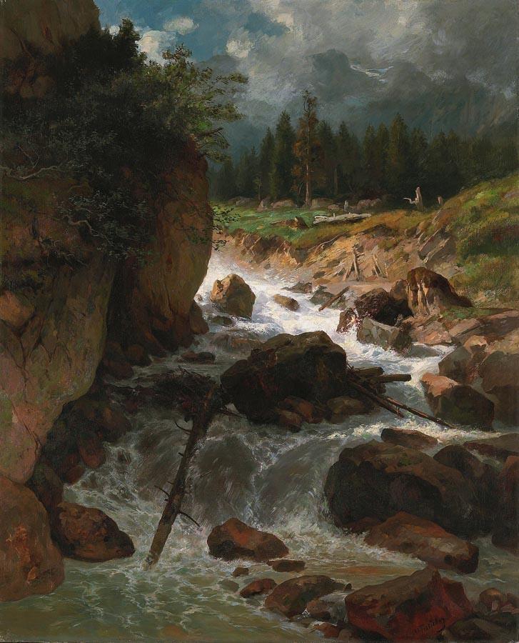 OTTO FRÖLICHER 1840-1890 BERGBACH MIT GEWITTERSTIMMUNG