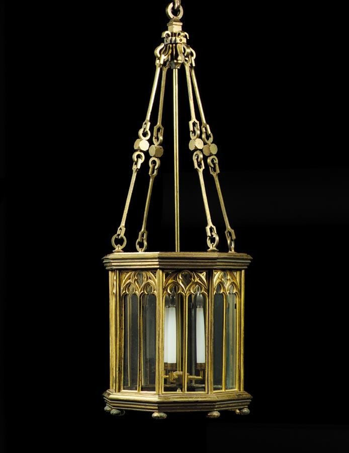 w - A RARE PAIR OF GEORGE IV GILT BRASS HALL LANTERNS, IN THE GOTHIC MANNER, CIRCA 1825