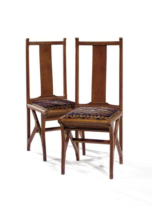 A PAIR OF SIDE CHAIRS, THE DESIGN ATTRIBUTED TO C. A. LION CACHET CIRCA 1910