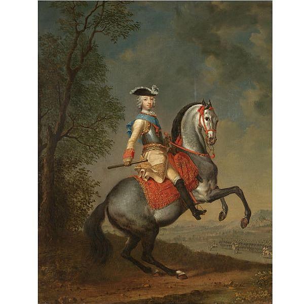 Georg Christoph Grooth, 1716-1749 , Grand Duke Petr Fedorovich on horseback oil on canvas