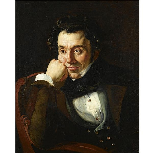 Franz Nikolaevich Riss, 1804-1886 , Portrait of a man said to be Orest Kiprensky oil on canvas