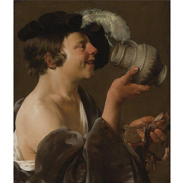 Hendrick Ter Brugghen , Deventer 1588 - 1629 Utrecht Boy in Profile, Drinking from a tankard; a kannekijker oil on canvas