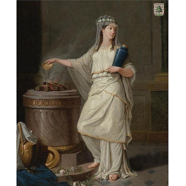 Jean François Sablet , Morges, Vaud 1745 - 1819 Nantes Vestal Virgin before a Burning Altar oil on canvas