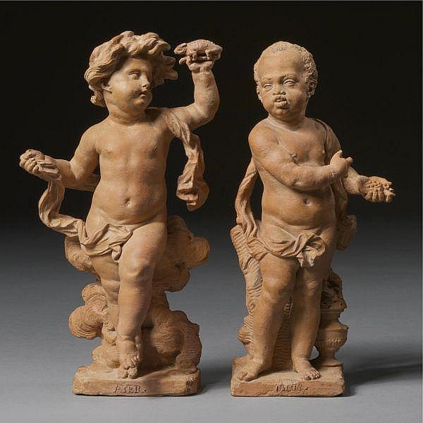 A Pair of Flemish Terracotta Figures Representing Air and Fire, Signed by Jan Claudius de Cock (1667-1735),   Circa 1704