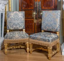 A SET OF EIGHT VICTORIAN GILTWOOD CHAIRS, THIRD QUARTER 19TH CENTURY, IN THE MANNER OF HOLLAND & SONS  