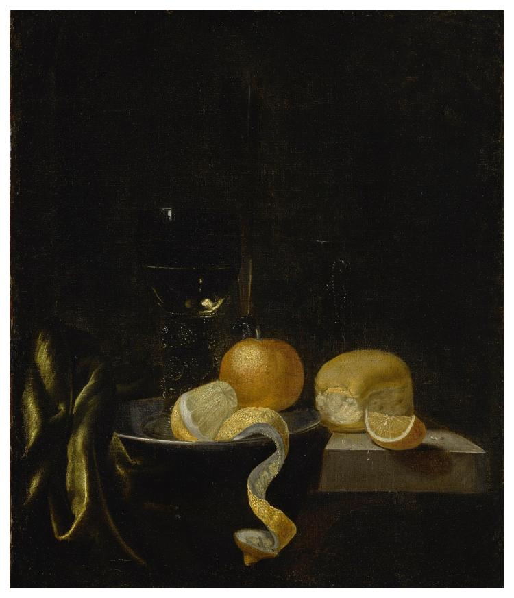 CLAES BERGOIJS | Still Life with a roemer, a façon de venise wine glass, an orange, apeeled lemon, and a roll on a cloth-draped table