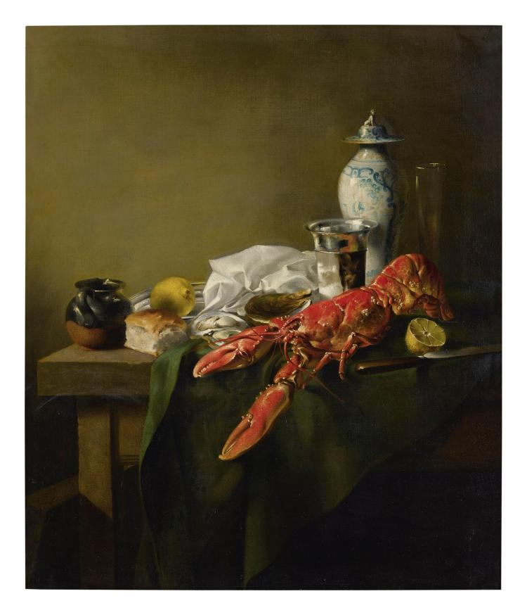 FRENCH SCHOOL, EARLY 19TH CENTURY | A Still Life of a lobster, a Chinese porcelain vase, oysters, lemons, bread, a knife and other objects on a wooden table draped with a green cloth