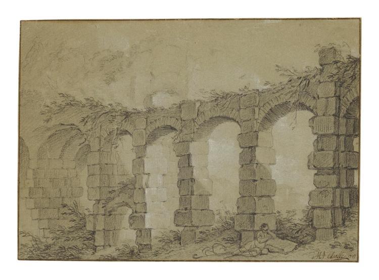CHARLES MICHEL-ANGE CHALLE | View of the Colosseum with the Basilica dei Santi Giovanni e Paoloal Celio, Rome
