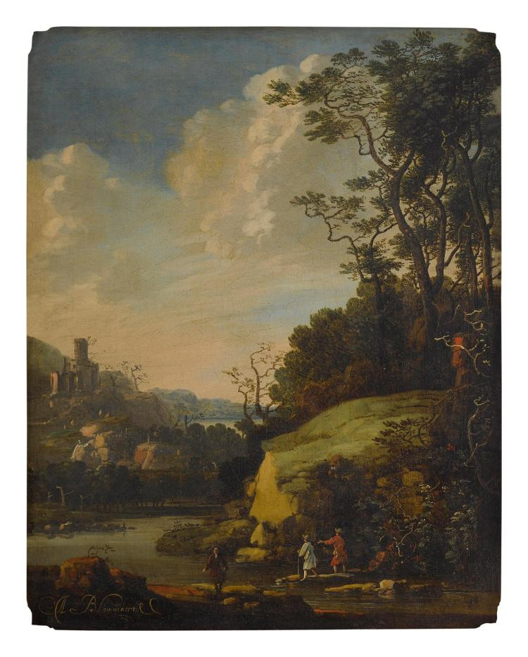 ABRAHAM BLOMMAERT | Hilly landscape with figures by a river
