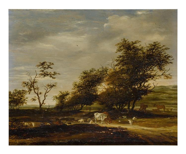 JACOB SALOMONSZ. VAN RUYSDAEL | A herder with his flock in a landscape
