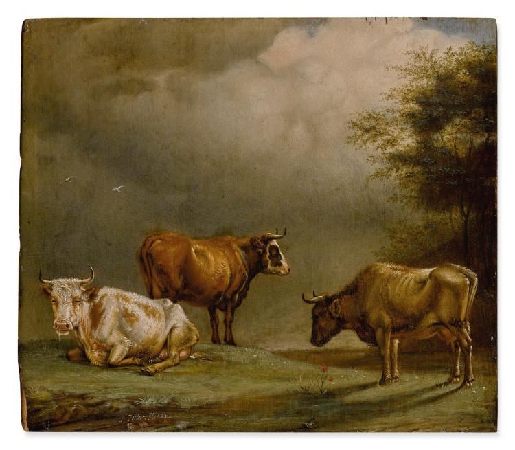 ATTRIBUTED TO PAULUS PIETERSZ. POTTER | Three cows in a pasture