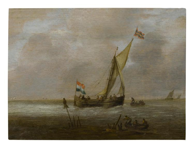 WILLEM VAN DIEST   Aseascape with a sailingship and fishing boats off the coast