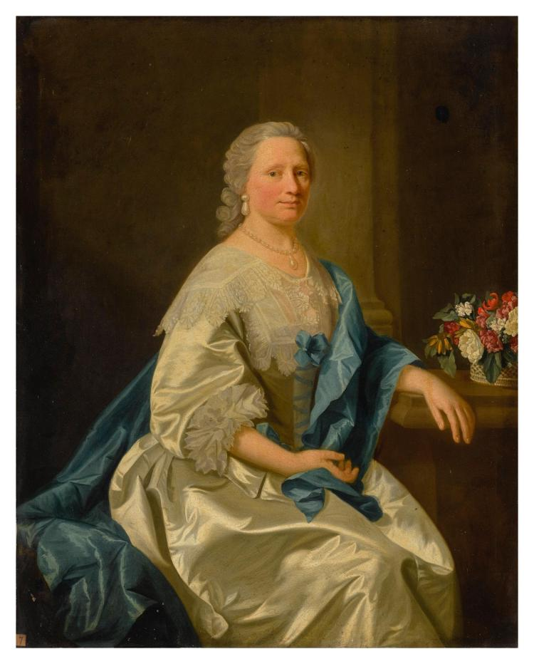 ALLAN RAMSAY AND STUDIO | Portrait ofMiss Leighton, three-quarter length, wearing a white satin dress and blue scarf