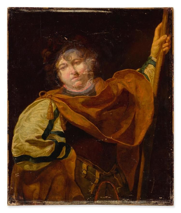 CIRCLE OF SIMON VOUET | Portrait of a youngman in armor, three-quarter length