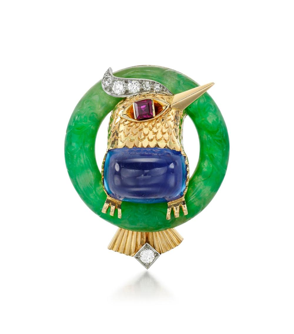 GEM SET, JADEITE AND DIAMOND BROOCH, CARTIER, 1951
