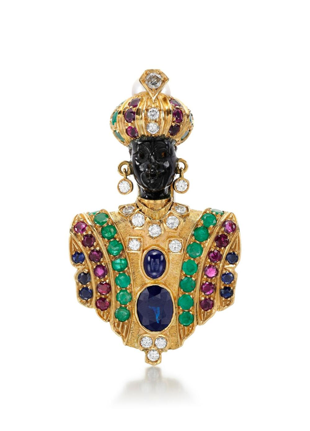 GEM SET, CULTURED PEARL AND DIAMOND BROOCH, NARDI