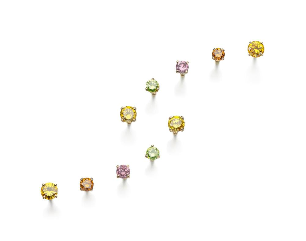 FIVE PAIRS OF COLOURED DIAMOND EARRINGS