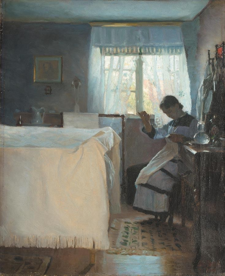 PEDER VILHELM ILSTED DANISH, 1861-1933 KVINDE DER SYR (WOMAN SEWING BY A WINDOW)