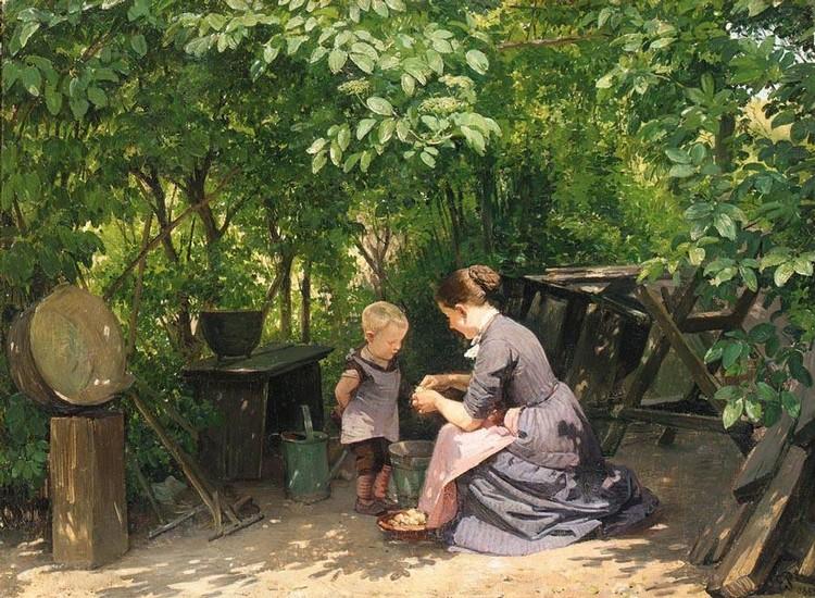 EDVARD PETERSEN DANISH, 1841-1911 I HAVEN (IN THE GARDEN)