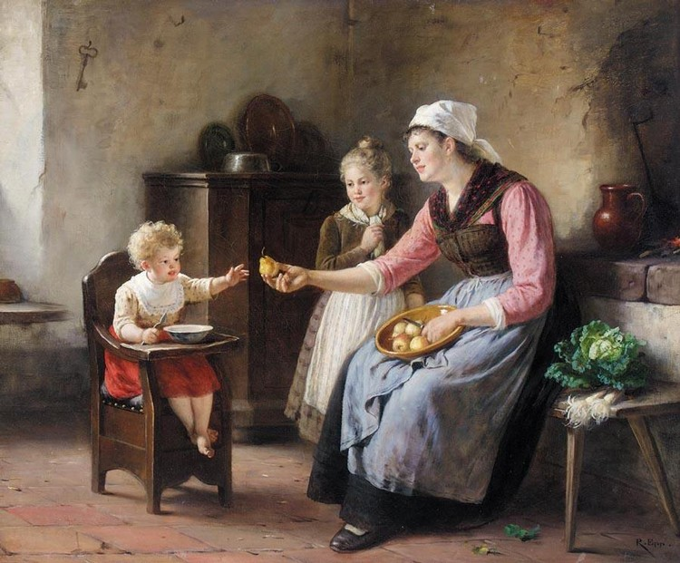PROPERTY OF A PRIVATE COLLECTOR RUDOLF EPP GERMAN, 1834-1910 DIE BIRNENSCHÄLERIN (PEELING PEARS)
