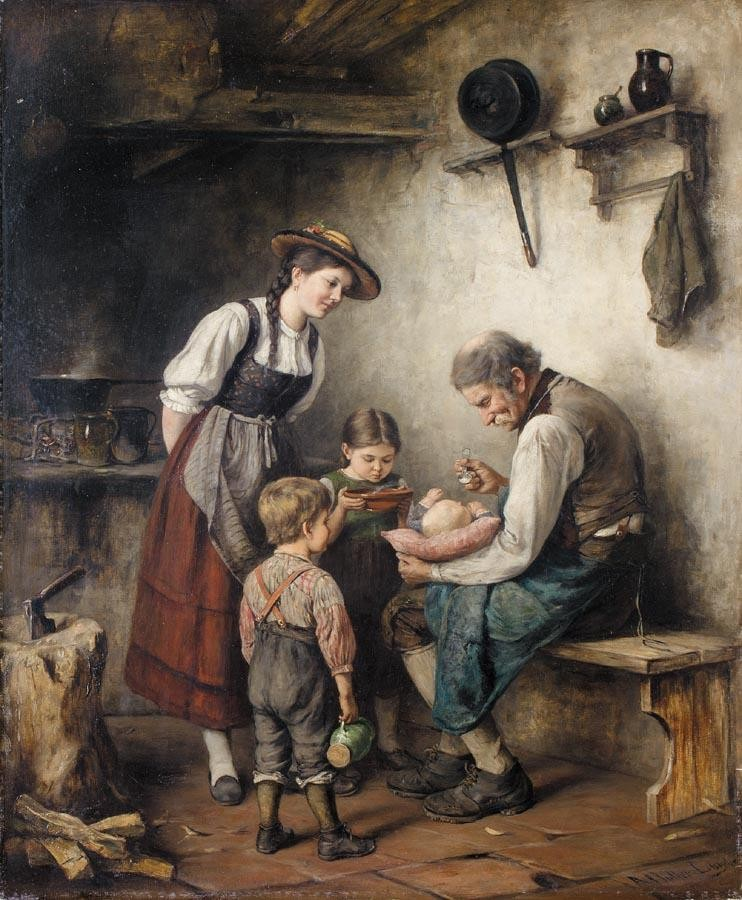 PROPERTY OF A PRIVATE COLLECTOR ALBERT MÜLLER-LINGKE GERMAN, B. 1844 ESSENSZEIT (FEEDING TIME)