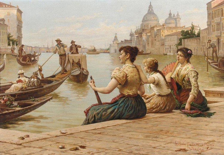 PROPERTY FROM A BRITISH PRIVATE COLLECTION ANTONIO PAOLETTI ITALIAN, 1834-1912 AWAITING A GONDOLA