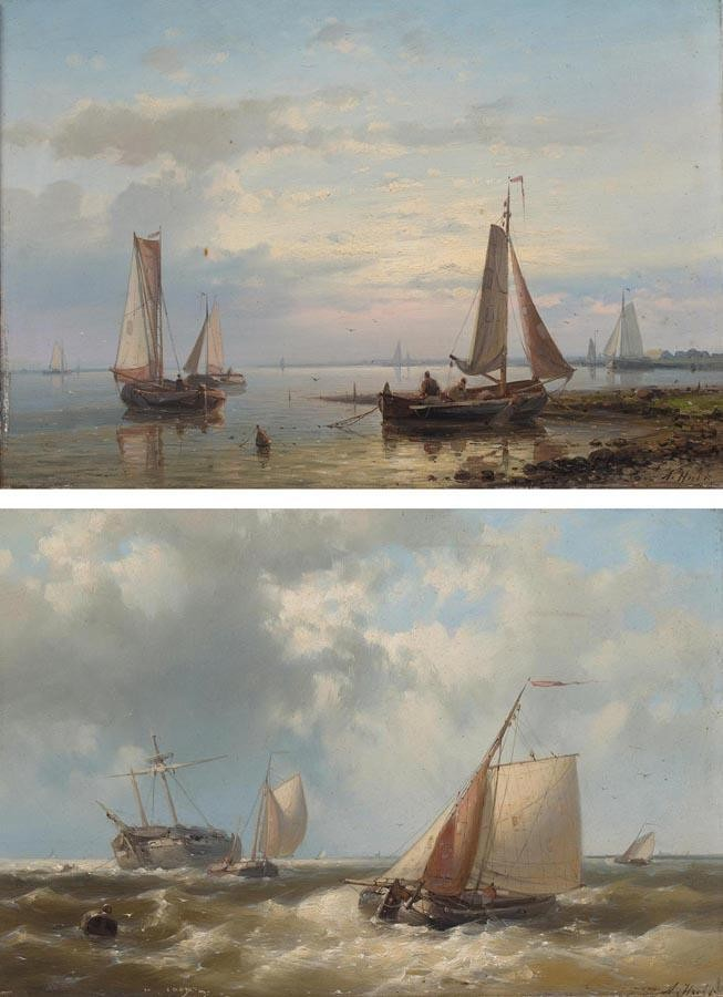 PROPERTY OF A BRITISH PRIVATE COLLECTOR ABRAHAM HULK DUTCH, 1813-1897 A PAIR OF SEASCAPES: SETTING