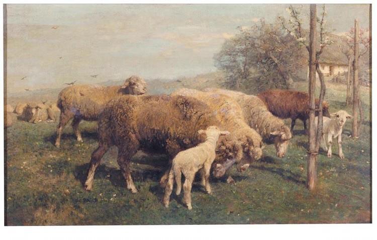f - HEINRICH VON ZÜGEL GERMAN, 1850-1941 SCHAFE AUF DER WEIDE (SHEEP IN A PASTURE)