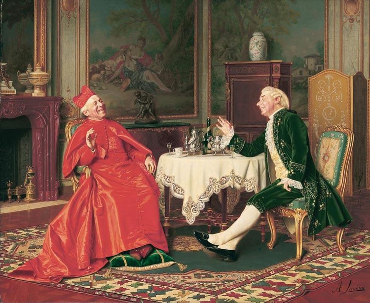 PROPERTY FROM A BRITISH PRIVATE COLLECTION ANDREA LANDINI ITALIAN, B. 1847 THE CARDINAL'S VISIT