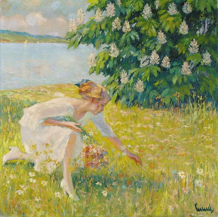 PROPERTY OF A GERMAN PRIVATE COLLECTOR EDWARD CUCUEL AMERICAN, 1875-1951 BLUMENPFLÜCKENDES MÄDCHEN