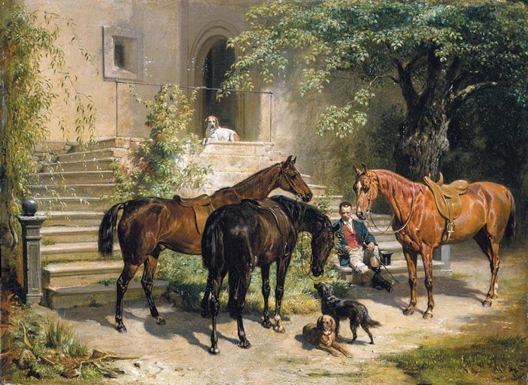 PROPERTY FROM AN ITALIAN PRIVATE COLLECTION FRANZ ADAM GERMAN, 1815-1886 DIE RAST (RESTING RIDER)