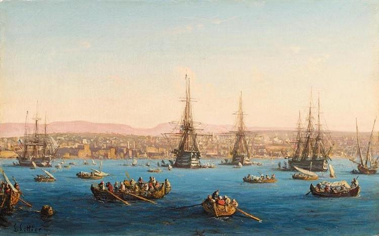 LOUIS LOTTIER FRENCH, 1815-1892 FLEET OF SHIPS BEFORE A TURKISH COASTAL TOWN