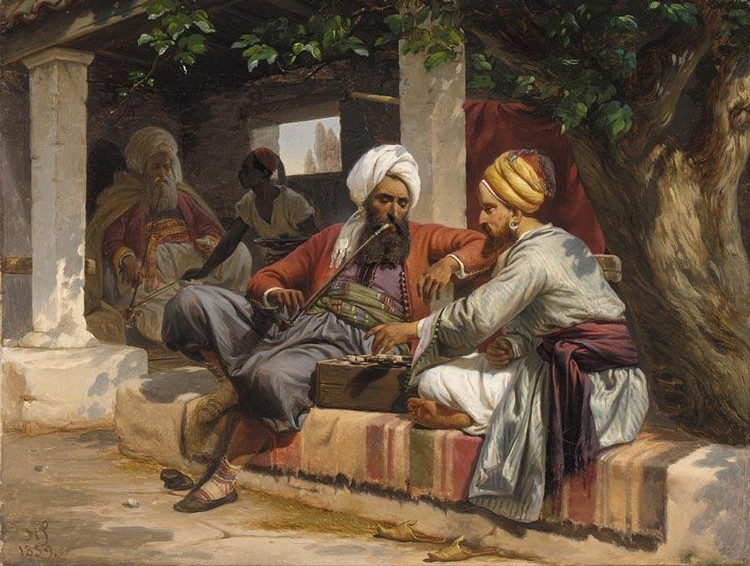 NIELS SIMONSEN DANISH, 1807-1885 A GAME OF DRAUGHTS