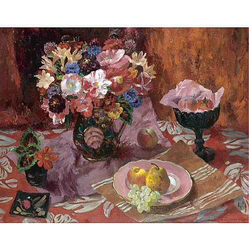 Mary Nicol Neill Armour 1902-2000 , still life with poppies, azalias and fruit