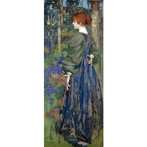 George Henry, R.A., R.S.A., R.S.W. 1858-1943 , in the bluebell wood