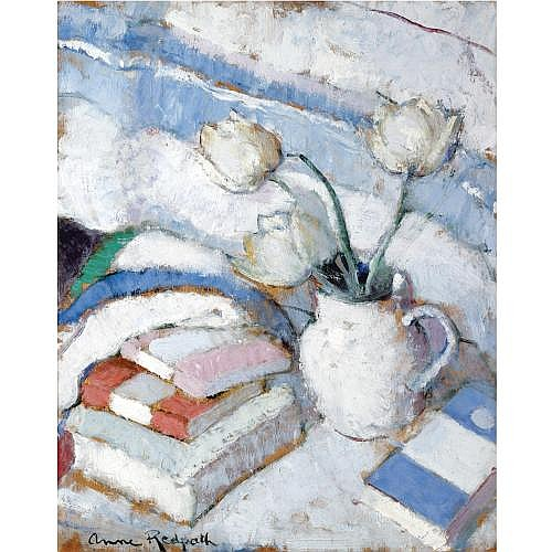 Anne Redpath, R.S.A., A.R.A. 1895-1965 , still life with white tulips