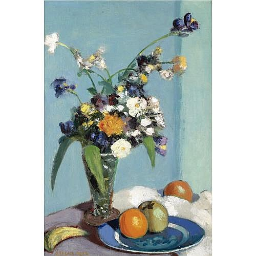 George Telfer Bear 1876-1973 , still life with fruit and flowers